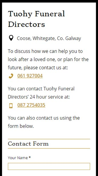 Tuohy Funeral Directors Contact